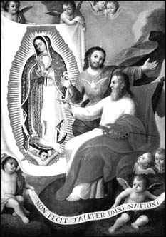 Anonimo, Il Padre Eterno dipinge l'immagine della Vergine di Guadalupe, Sec. XVIII, Col. MBG.