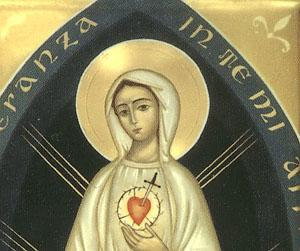 Immagine della Madonna apparsa a suor Chiara Scarabelli nel 1950 così descritta dalla veggente.